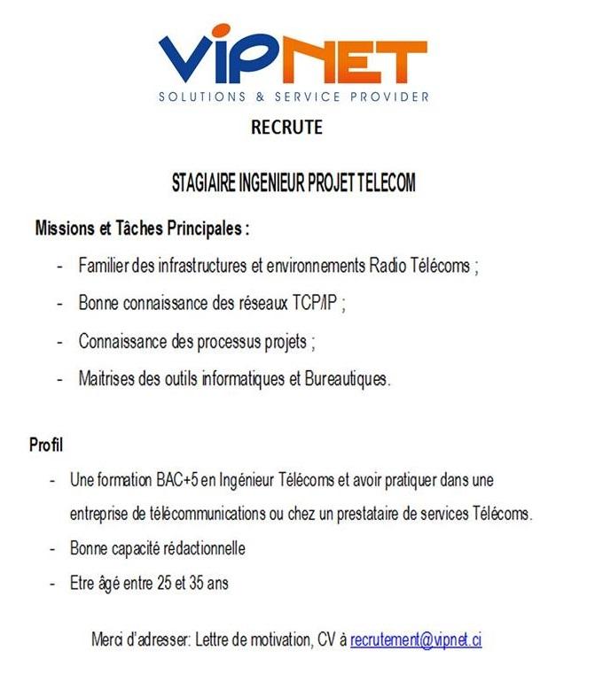 vipnet recrute 01 stagiaire ing u00c9nieur projet telecom