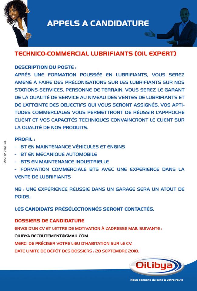 oilibya recrute technico-commercial - zoneemploi com