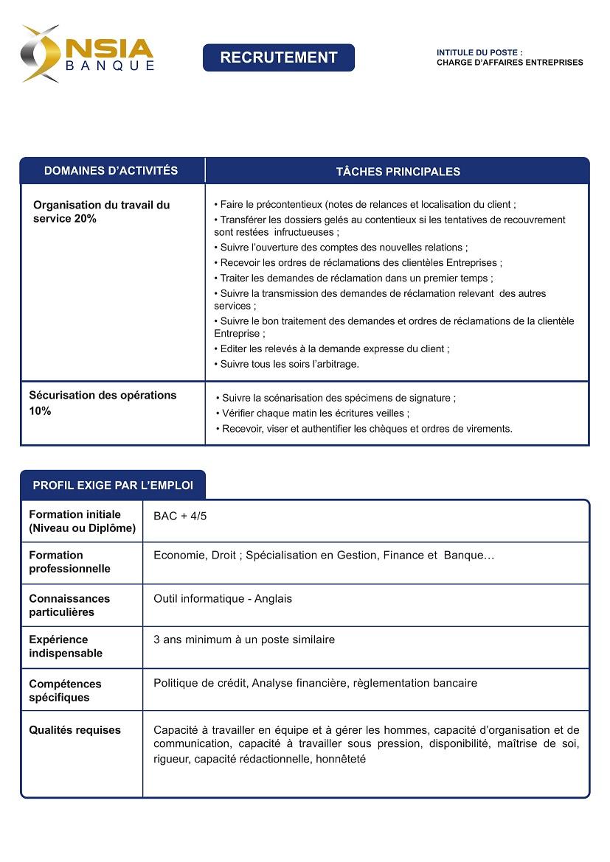 nsia banque recrute charge d u2019affaires entreprises - zoneemploi com